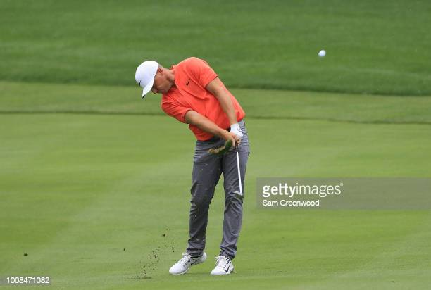 Alex Noren of Sweden plays a shot during a practice round prior to the World Golf ChampionshipsBridgestone Invitational at Firestone Country Club...