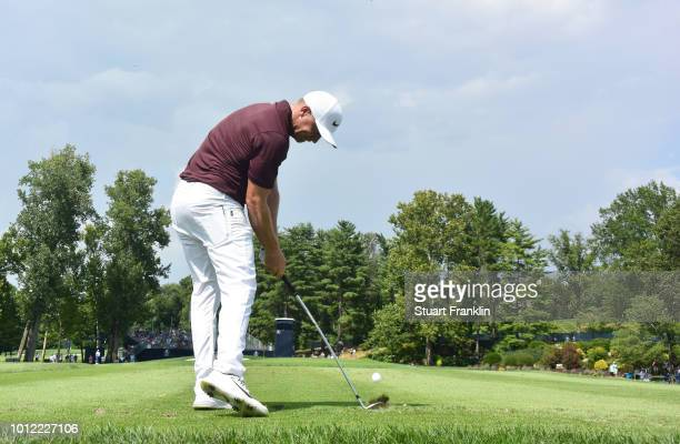 Alex Noren of Sweden plays a shot during a practice round prior to the 2018 PGA Championship at Bellerive Country Club on August 6 2018 in St Louis...