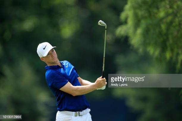 Alex Noren of Sweden plays a shot during a practice round prior to the 2018 PGA Championship at Bellerive Country Club on August 8 2018 in St Louis...