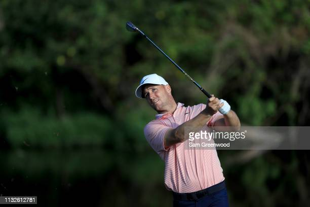Alex Noren of Sweden plays a shot during a practice round prior to the Honda Classic at PGA National Resort and Spa on February 27 2019 in Palm Beach...