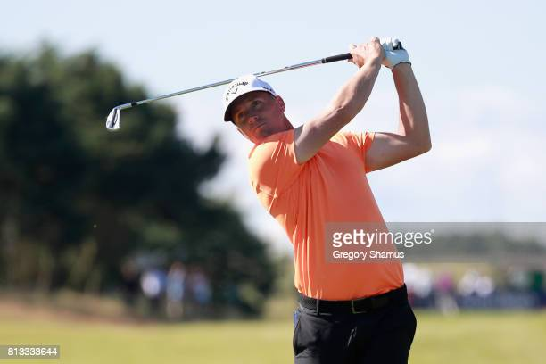 Alex Noren of Sweden plays a shot from the fairway during a ProAm prior to the AAM Scottish Open at Dundonald Links Golf Course on July 12 2017 in...