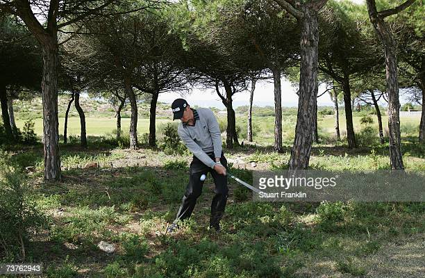 Alex Noren of Sweden plays a shot on the second hole during the final round of The Estoril Open de Portugal at The Quinta da Marinha Golf Course on...