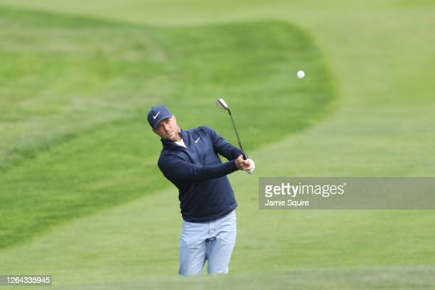 Alex Noren of Sweden plays a shot to make an eagle on the seventh hole during the first round of the 2020 PGA Championship at TPC Harding Park on...