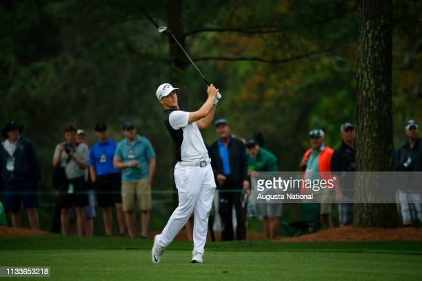 Alex Noren of Sweden plays a stroke from the fairway of No 1 during Practice Round 1 for the Masters at Augusta National Golf Club Monday April 3 2017