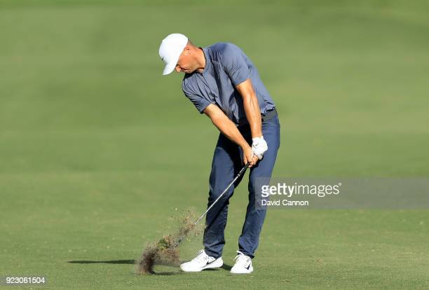 Alex Noren of Sweden plays his second shot on the 13th hole during the first round of the 2018 Honda Classic on The Champions Course at PGA National...