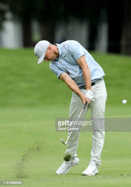 Alex Noren of Sweden plays his second shot on the 16th hole during the final round of the World Golf ChampionshipsMexico Championship at Club de Golf...