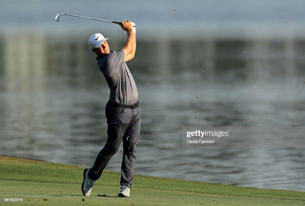 Alex Noren of Sweden plays his second shot on the par 4, 18th hole during the second round of the THE PLAYERS Championship on the Stadium Course at TPC Sawgrass on May 11, 2018 in Ponte Vedra Beach, Florida.
