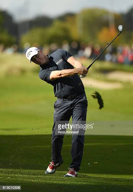 Alex Noren of Sweden plays his second shot on the third hole during the fourth round of the British Masters at The Grove on October 16 2016 in...