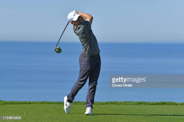 Alex Noren of Sweden plays his shot from the 11th tee on the North Course during the second round of the the 2019 Farmers Insurance Open at Torrey...