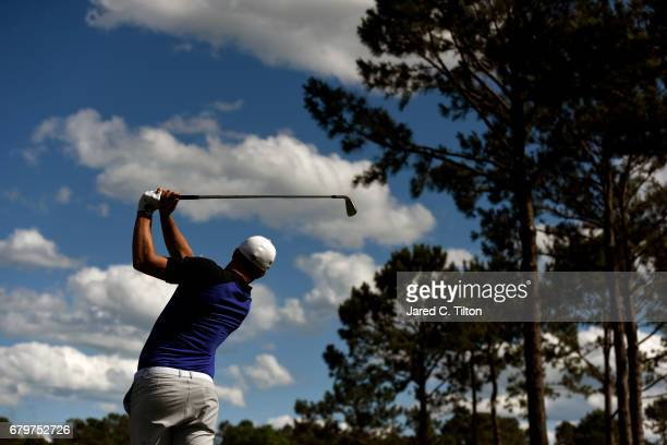 Alex Noren of Sweden plays his shot from the 15th tee during round three of the Wells Fargo Championship at Eagle Point Golf Club on May 6 2017 in...