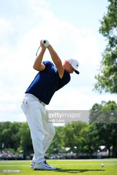 Alex Noren of Sweden plays his shot from the 16th tee during a practice round prior to the 2018 PGA Championship at Bellerive Country Club on August...