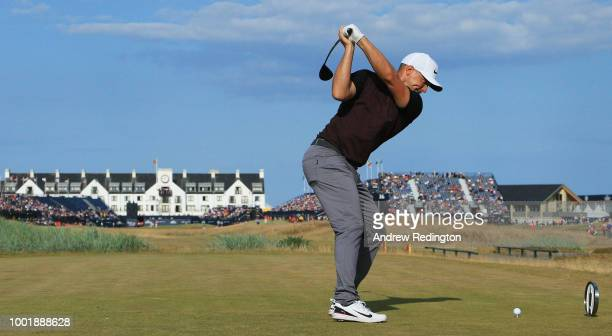 Alex Noren of Sweden plays his shot from the 18th tee during the first round of the 147th Open Championship at Carnoustie Golf Club on July 19 2018...