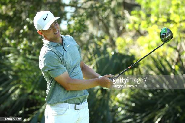 Alex Noren of Sweden plays his shot from the fifth tee during the first round of The PLAYERS Championship on The Stadium Course at TPC Sawgrass on...