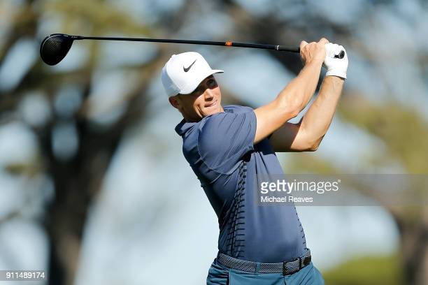 Alex Noren of Sweden plays his shot from the fifth tee during the final round of the Farmers Insurance Open at Torrey Pines South on January 28 2018...