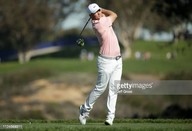 Alex Noren of Sweden plays his shot from the fifth tee on the South Course during the first round of the the 2019 Farmers Insurance Open at Torrey...