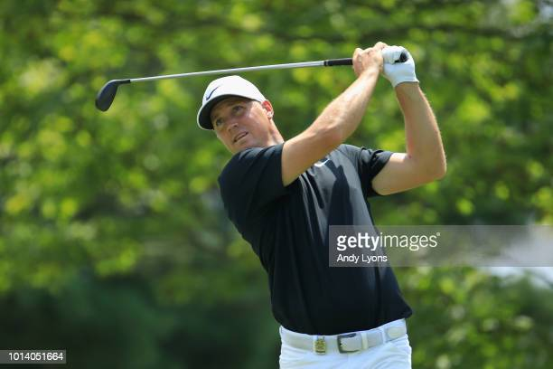 Alex Noren of Sweden plays his shot from the second tee during the first round of the 2018 PGA Championship at Bellerive Country Club on August 9...