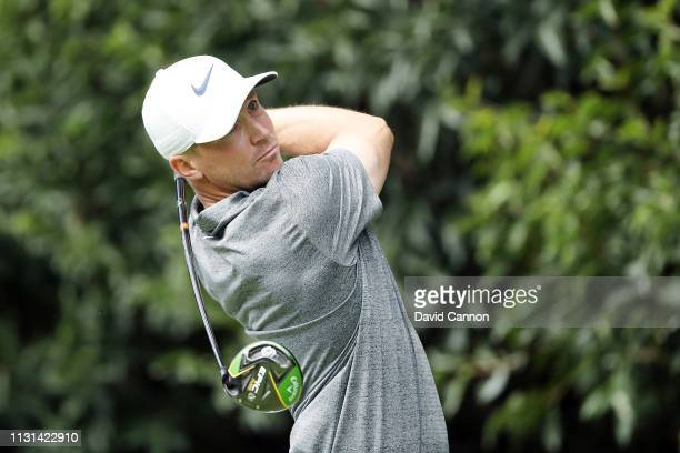 Alex Noren of Sweden plays his shot from the second tee during the second round of World Golf ChampionshipsMexico Championship at Club de Golf...
