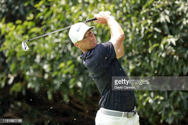 Alex Noren of Sweden plays his shot from the second tee during the third round of World Golf ChampionshipsMexico Championship at Club de Golf...