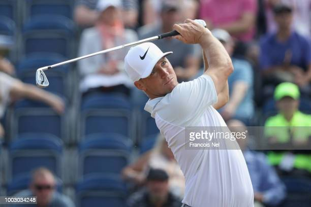 Alex Noren of Sweden plays his shot from the third tee during the third round of the 147th Open Championship at Carnoustie Golf Club on July 21 2018...