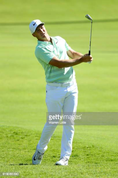 Alex Noren of Sweden plays his shot on the second hole during the second round of the Genesis Open at Riviera Country Club on February 16 2018 in...