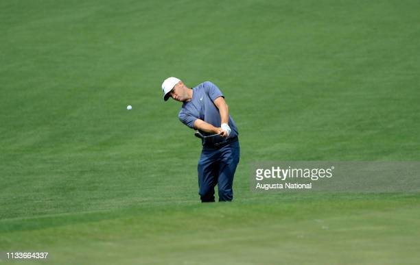 Alex Noren of Sweden plays his shot out of the bunker on Hole No 2 during Practice Round 1 for the Masters at Augusta National Golf Club Monday April...