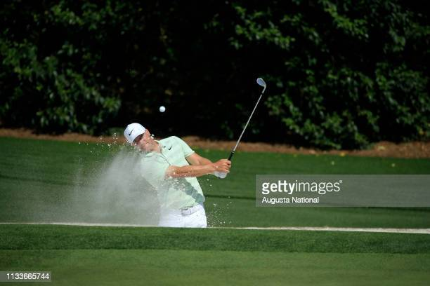 Alex Noren of Sweden plays his shot out of the bunker on Hole No 5 during Practice Round 2 for the Masters at Augusta National Golf Club Tuesday...