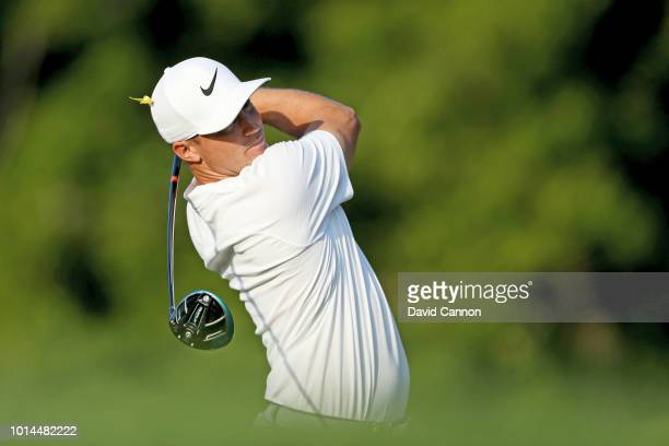Alex Noren of Sweden plays his tee shot on the 12th hole during the second round of the 100th PGA Championship at the Bellerive Country Club on...