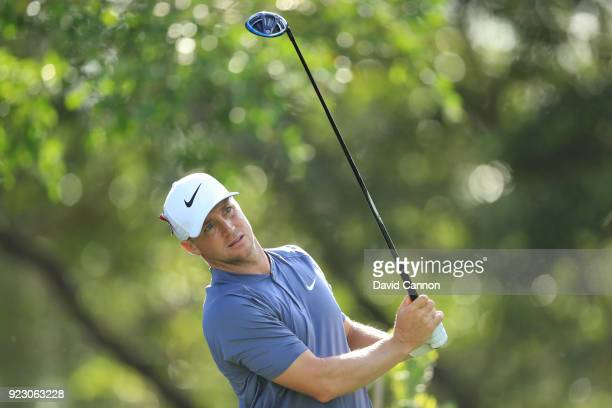 Alex Noren of Sweden plays his tee shot on the 14th hole during the first round of the 2018 Honda Classic on The Champions Course at PGA National on...
