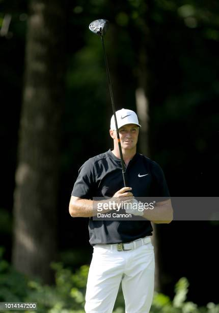 Alex Noren of Sweden plays his tee shot on the 17th hole during the first round of the 100th PGA Championship at the Bellerive Country Club on August...