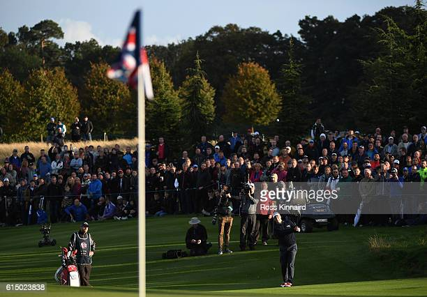 Alex Noren of Sweden plays his third shot on the 18th hole during the fourth round of the British Masters at The Grove on October 16 2016 in Watford...