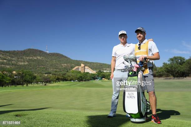 Alex Noren of Sweden poses with Caddie Lee Warne ahead of the Nedbank Golf Challenge at Gary Player CC on November 8 2017 in Sun City South Africa