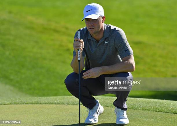 Alex Noren of Sweden prepares to putt on the 10th green on the North Course during the second round of the the 2019 Farmers Insurance Open at Torrey...