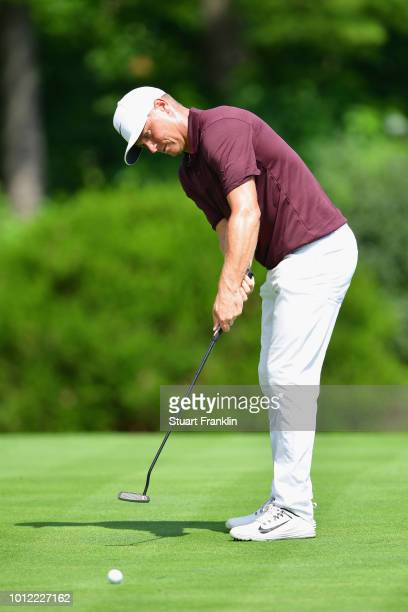Alex Noren of Sweden putts during a practice round prior to the 2018 PGA Championship at Bellerive Country Club on August 6 2018 in St Louis Missouri