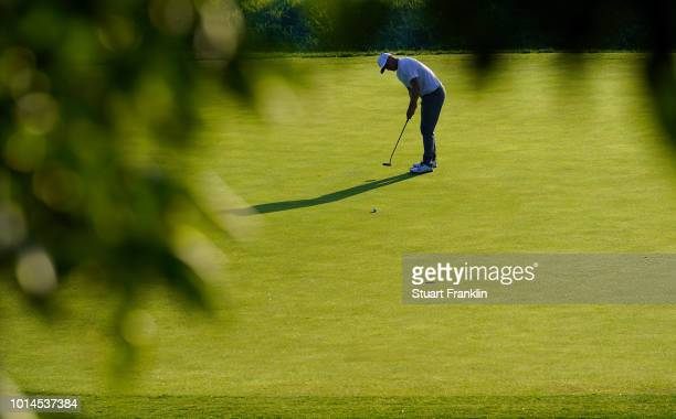 Alex Noren of Sweden putts during the second round of the 2018 PGA Championship at Bellerive Country Club on August 10 2018 in St Louis Missouri