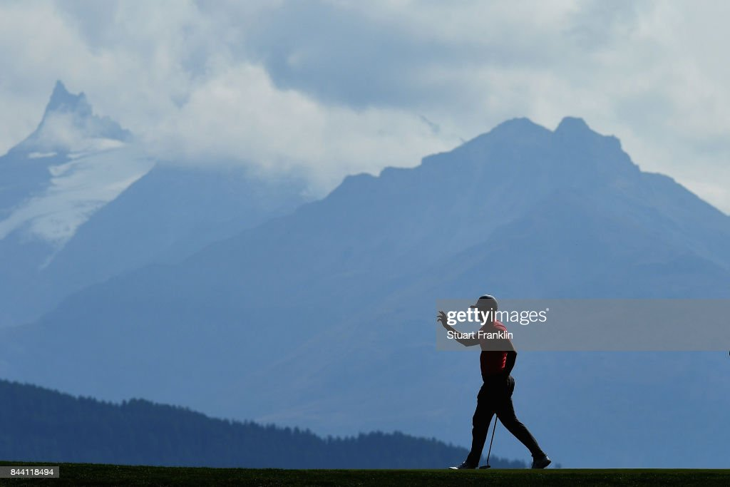 Alex Noren of Sweden reacts on the 7th during Day Two of the 2017 Omega European Masters at Crans-sur-Sierre Golf Club on September 8, 2017 in Crans-Montana, Switzerland.