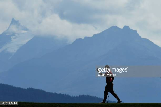 Alex Noren of Sweden reacts on the 7th during Day Two of the 2017 Omega European Masters at CranssurSierre Golf Club on September 8 2017 in...
