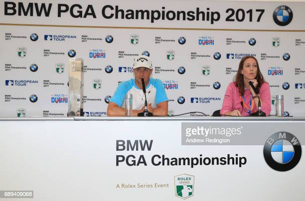 Alex Noren of Sweden talks to the media after winning the BMW PGA Championship at Wentworth on May 28 2017 in Virginia Water England