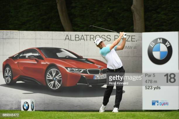 Alex Noren of Sweden tees off on the 18th hole during day four of the BMW PGA Championship at Wentworth on May 28 2017 in Virginia Water England
