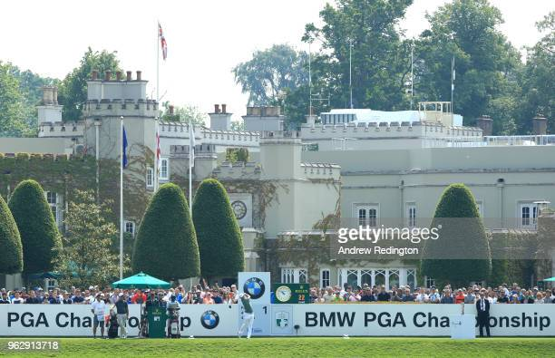 Alex Noren of Sweden tees off on the 1st hole during day four and the final round of the BMW PGA Championship at Wentworth on May 27 2018 in Virginia...