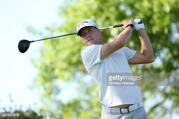Alex Noren of Sweden tees off on the 6th hole of his match during round four of the World Golf ChampionshipsDell Technologies Match Play at the...