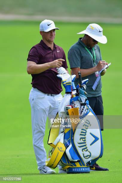 Alex Noren of Sweden waits alongside his bag during a practice round prior to the 2018 PGA Championship at Bellerive Country Club on August 6 2018 in...