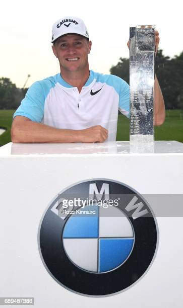 Alex Noren of Sweden with the winners trophy after the final round of the BMW PGA Championship on the West Course at Wentworth on May 28 2017 in...
