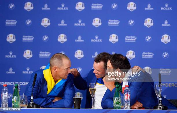 Alex Noren Paul Casey and Francesco Molinari attend a press conference after Team Europe win the 2018 Ryder Cup following singles matches of the 2018...