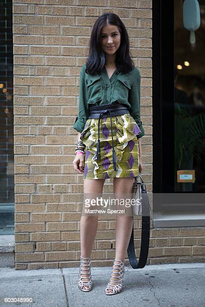 Alex Nusinkis is seen wearing Schultz Rebecca Minkoff while attending Rebecca Minkoff during New York Fashion Week on September 9 2016 in New York...