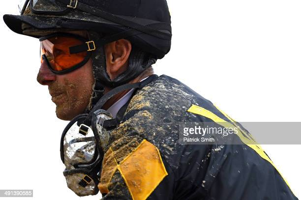 Alex O Solis jockey of Sky Given looks on after a BlackEyed Susan Day race a day prior to the 139th Preakness Stakes at Pimlico Race Course on May 16...