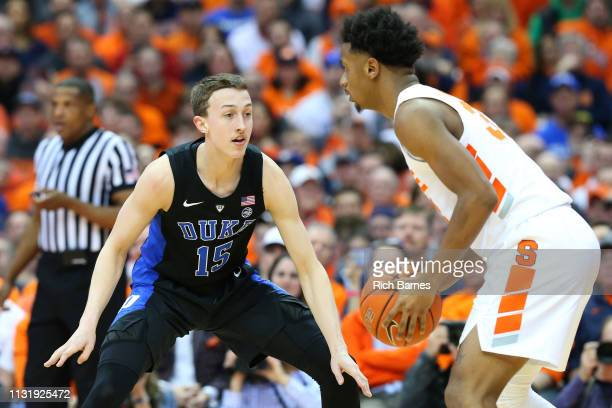 Alex O'Connell of the Duke Blue Devils defends Elijah Hughes of the Syracuse Orange during the first half at the Carrier Dome on February 23 2019 in...