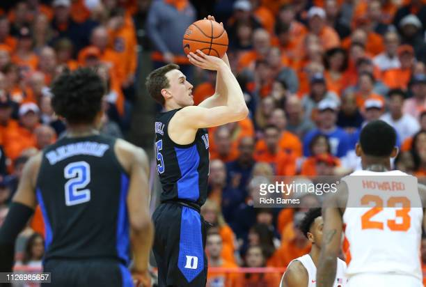 Alex O'Connell of the Duke Blue Devils shoots the ball against the Syracuse Orange during the second half at the Carrier Dome on February 23 2019 in...