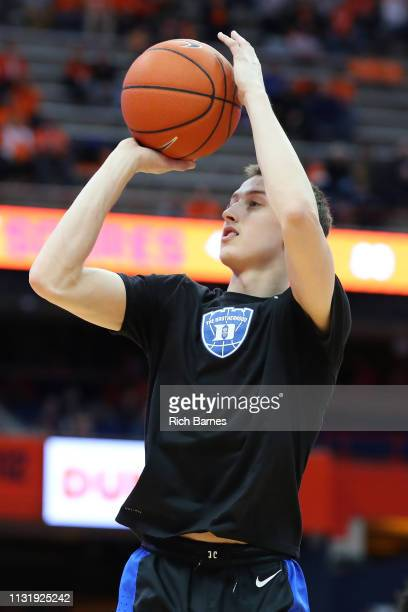 Alex O'Connell of the Duke Blue Devils warms up prior to the game against the Syracuse Orange at the Carrier Dome on February 23 2019 in Syracuse New...