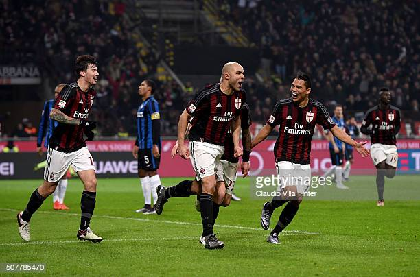 Alex of AC Milan celebrates during the Serie A match between AC Milan and FC Internazionale Milano at Stadio Giuseppe Meazza on January 31 2016 in...