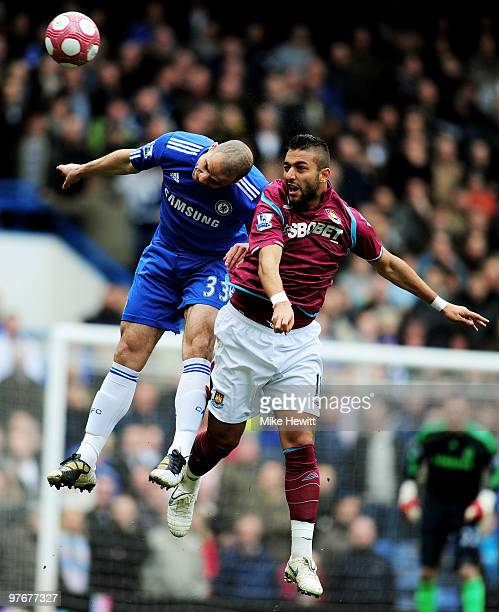 Alex of Chelsea and Mido of West Ham compete for a header during the Barclays Premier League match between Chelsea and West Ham United at Stamford...